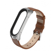 Luxurious leather bracelet for Mi Band 4/5 - brown